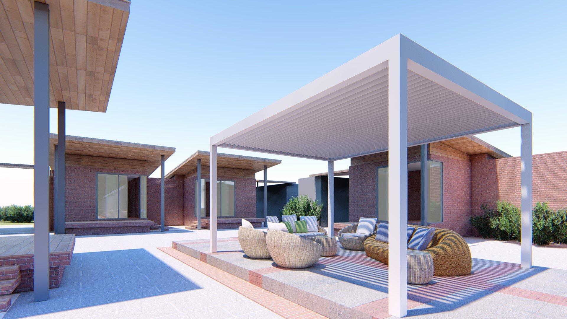 1. Oval Louvered Pergola - Perspective View - 16.07.2020